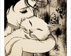 """SWEET KISS"" Original painting by Raphaël Vavasseur art Original painting: ift…. Art Original, Original Paintings, Image Deco, Cat Art Print, Super Cat, Sweet Kisses, Cute Animal Drawings, Reproduction, Cat Drawing"