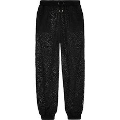 Moschino Lace track pants (24,195 MKD) ❤ liked on Polyvore featuring pants, black, high waisted black pants, cuff pants, black trousers, loose black pants and high waisted trousers