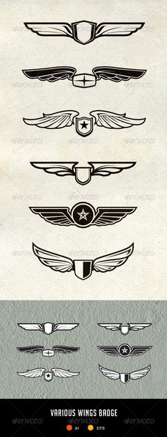 Various Wing Badges and Patch - Decorative Symbols Decorative