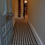 Black & white mosaic hallway in Barnes, London