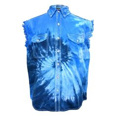 Mens Acid Washed Mallard Ducks Denim Sleeveless Cutoff Biker Shirt