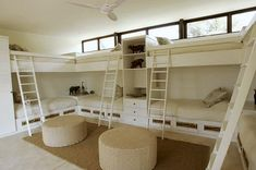 kids bunk room with under bed storage drawers