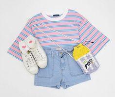 Korean Fashion Sets- Late Summer Collection Blue striped t-shirt, Pink buttoned skirt, White sneakers. Grey graphic t-shirt, Pi. Outfits with heels striped tops Astra colors) Cute Fashion, Look Fashion, Teen Fashion, Fashion Outfits, Fashion Design, Fashion Sets, Fashion Hacks, Skirt Fashion, Pretty Outfits