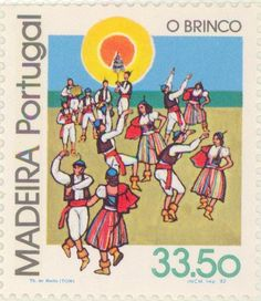 """1982 Portugal - Dancing couples. The """"brinco"""" musical instrument"""