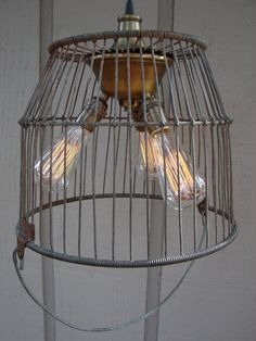 Upcycled Antique Wire Egg Basket Lighting by BenclifDesigns, $249.00