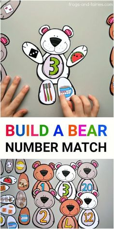 This cute Build a Bear Number Match printable will help your kids build a strong number sense! Your kids will build the number bears by counting the bees, watermelon seeds, fingers on a hand, dots on a hot cocoa tens frame, toothbrush and carrot shaped ta Numbers Preschool, Math Numbers, Math Classroom, Classroom Activities, Teaching Math, Learning Activities, Preschool Activities, Kids Learning, Kindergarten Math Stations