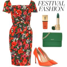 Garden Party by iamniharika on Polyvore featuring moda, Ceil Chapman, Jimmy Choo, DKNY, Yves Saint Laurent, floral, GREEN, orange, gardenparty and festivalfashion