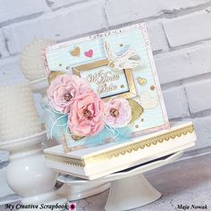 Maja Nowak, CraftHobby Oliwiaen. Kartka ślubna z pudełkiem  #polandhandmade; #scrapbooking;