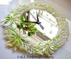 Часы для дома ручной работы. Ярмарка Мастеров - ручная работа часы из стекла, фьюзинг  С нежным вкусом лайма. Handmade.