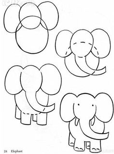 Step by Step Drawing Lessons for Toddlers: Learn to Draw with Circles / How to Draw. Painting and Drawing for Kids Drawing Lessons, Art Lessons, Drawing Journal, Elephant Drawing For Kids, Art For Kids, Crafts For Kids, Doodles, Step By Step Drawing, Learn To Draw