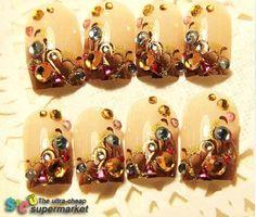 Fashion  handmade false nails  beauty nail tips super dia amber art fake nail  3D false nail patch € 5,52