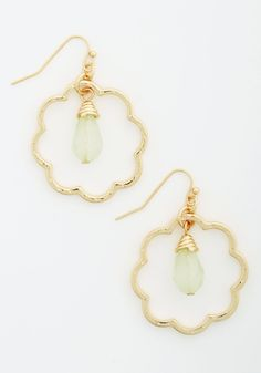 Delicate and Darling Earrings - Green, Solid, Boho, Gold, Exclusives