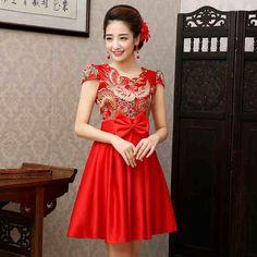 a766842bb6b 2016 New Bride Wedding Qipao Red Short Cheongsam Dress Chinese Traditional Dress  Plus Size Robe Orientale