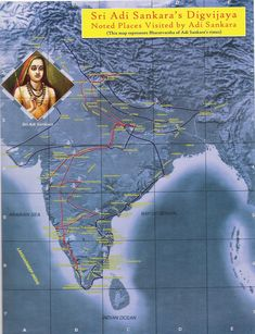 Map showing places visited by Adi Sankara