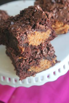 Peanut Butter Fudge Stuffed Brownies  no choc chips for me
