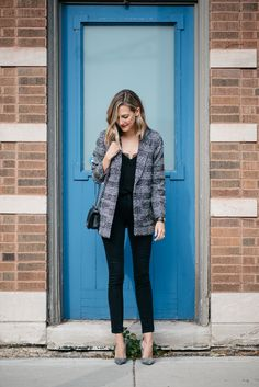 2017 H&M blazer, Cami NYC top  ), Paige jeans (), Manolo heels, Chanel bag (