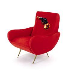 SELETTI Seletti Wears Toiletpaper revolver-print velvet armchair x Furniture Care, Contract Furniture, Velvet Furniture, Furniture Design, Retro Armchair, Velvet Armchair, Pop Art Decor, Decoration, Sofa Next
