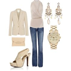 Buisness Casual: Keep it covered, neutral, and classic. Black, gray, brown, navy blue, ivory, khaki and taupe are all good color choices, and there's no harm in throwing in a standout accessory to spice up the look -- a pink scarf, yellow headband or red leather belt can make a great statement paired with blue pants and a simple white button-down.