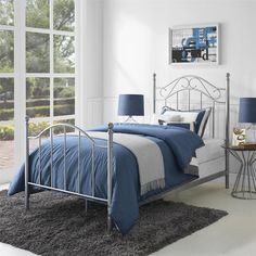 Twin Pewter Taupe Metal Bed