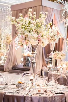 Stunning Cherry Blossom Wedding At The Four Seasons Hotel - Wedding Decor Toronto Rachel A. Ballroom Wedding Reception, Wedding Table, Wedding Events, Wedding Reception Flowers, Themed Weddings, Garden Wedding, Wedding Centerpieces, Wedding Decorations, Table Decorations