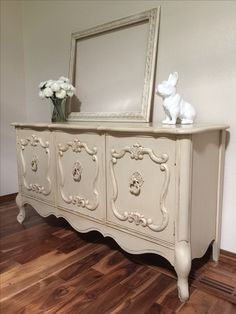 Loved creating this elegant beauty. Painted in a soft beige with minimal distressing and glazed in brown to accentuate details and add character.