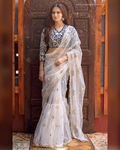 Looking for stylish designer sarees? Check out this vast collection of the latest designer saree trends. From Abu Jani to Anita Dongre and Manish Malhotra to Sabyasachi, this page has all kinds of designer saree images for weddings & parties. Saris, Indian Dresses, Indian Outfits, Sari Bluse, Saree Gown, Net Saree, Lehanga Saree, Sabyasachi Sarees, Anarkali Lehenga