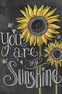 You are my sunshine blackboard and chalk style wall art