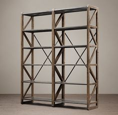 RH's 20th C. Zinc Truss Double Shelving:Sturdy, cross-braced construction and enduring materials testify to the industrial origins of commercial shelving in early 20th-century Europe. We've reproduced it in exacting detail, using reclaimed pine, a triangular lattice pattern and an artisan's touch.