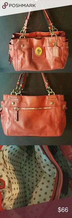 COACH classic peyton satchel Coral colored leather is pleasingly popular for Spring! This Coach classic says it all, roomy with 3seperate compartments that have magnetic closures as well as a center zip pouch   and 2 interior pockets. The outside will fool.you to, that is another pocket under that lock! Interior is great with polkadots and all. This is a used bag and will show some wear in the usual places along the corners and the top but really not a buzz kill. Ask me questions and please…