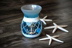 Not only is this my first tealight warmer, but this was also my maiden voyage ordering from the Yankee Candle website. Anchor Bathroom, Tea Lights, Mermaid, Candles, Tea Light Candles, Candy, Candle Sticks, Candle