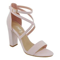 cb34de95d95 WOMENS ANKLE STRAP BLOCK HEEL SANDALS LADIES STRAPPY BUCKLE PROM PARTY SHOES  3-8  Amazon.co.uk  Shoes   Bags