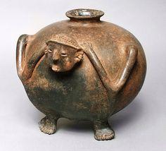 Anthropomorphic Tripod Vessel. Mexico, Jalisco, 200 B.C.- A.D. 500