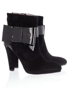 Bow-embellished suede ankle boots by #RED Valentino