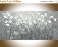 Modern art Original oil abstract painting white by QiQiGallery