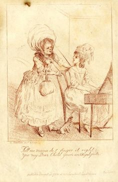 A young girl seated at a piano turns to her mother who stands behind her wearing a large hat and with a handbag.  1778  Stipple printed in red-brown ink