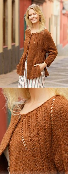 Free Knitting Pattern for an Autumn Spice Cardigan - Best Knitting Patterns Free Baby Knitting Patterns, Ladies Cardigan Knitting Patterns, Cardigan Pattern, Lace Knitting, Knit Crochet, Poncho Patterns, Sewing Patterns, Lace Cardigan, Crochet Patterns