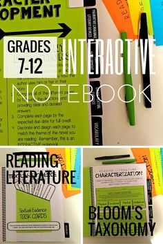 Reading Literature Interactive Notebook Grades 7-12