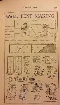 small wall - long wide Wall Tent Making - Handbook for Patrol Leaders 1949 Bushcraft Camping, Camping And Hiking, Camping Survival, Outdoor Survival, Survival Prepping, Survival Skills, Camping Hacks, Bushcraft Pack, Hiking Packs