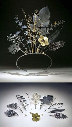 "Jan Yager's ""Tiara of Useful Knowledge City Flora: The Philadelphia Series and is made of oxidized sterling silver, and."