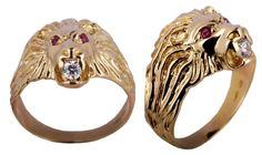 ANELLO  LEONE  DA UOMO IN ORO 18 CARATI KT (750‰) . SOLID GOLD RING MAN ITALY