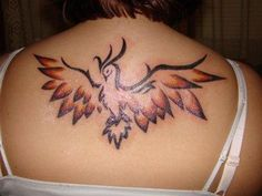 Lovely Phoenix With Open Wings Tattoo On Upperback Flame Tattoos, Full Arm Tattoos, Girl Back Tattoos, Phoenix Bird Tattoos, Phoenix Tattoo Design, Bird Tattoo Back, Tattoo On, Tattoo Drawings, Ankle Tattoo Small