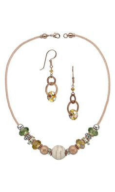 Single-Strand Necklace and Earring Set with Dione™ Large-Hole Beads and Metal Beads - Fire Mountain Gems and Beads