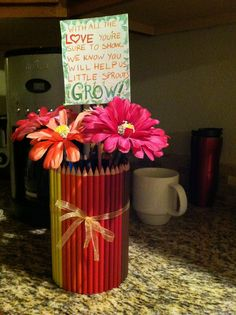 """Home made teacher gifts are the best! My sister and I made these for a """"1st day of school"""" gift for my preschooler and her 1st grader DIY"""