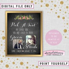 ♥ Large Wedding Welcome Signs - Pick A Seat, Rustic Florals ♥  ---------------------------------------------------- VERY IMPORTANT, PLEASE
