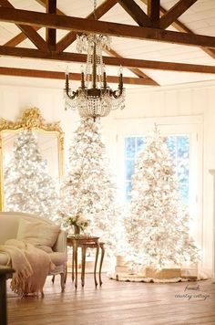 Merry & Bright~ My favorite Frosted Fir Christmas tree - FRENCH COUNTRY COTTAGE #frenchcountry #christmasdecorations #christmasdecor #christmastree