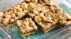 Ooey, gooey caramel bars with a sugar cookie crumble topping will be an instant favorite.