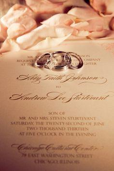 Wedding rings captured against the invitation. Wedding Ring Pictures, Wedding Rings, Wedding Stuff, Wedding Ideas, Chicago Cultural Center, Ballroom Wedding, Chicago Wedding, Wedding Photography, Romantic