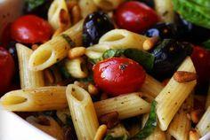 Tomato, Basil, and Roasted Pine Nut Penne. Sì!