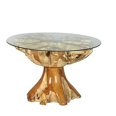 Fabulous Teak Root Dining Table with Glass Top,48''D x 31''H. #Handmade #Mediterranean