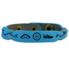 Triathlon Leather Engraved Bracelet Swim Bike Run (Items) SportBANDZ